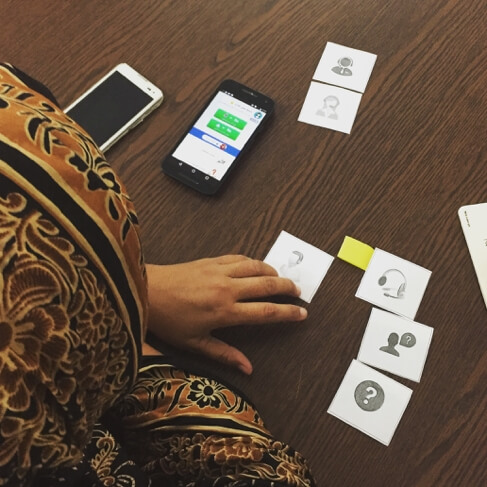 Using card sorting activities, we were able to identify icons that resonated with local context. Photo credit: Alexandra Fiorillo